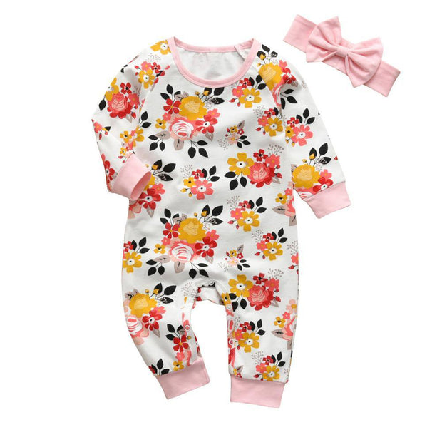 Baby Girls 2Pcs  Patterned Long Sleeve Onesie Romper Set Floral - Tots Little Closet