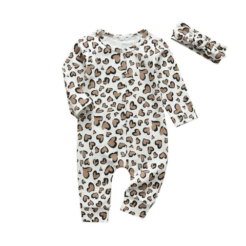 Baby Girls 2Pcs  Patterned Long Sleeve Onesie Romper Set Leopard Print Heart freeshipping - Tots Little Closet
