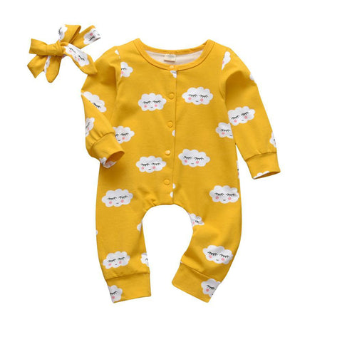 Baby Girls 2Pcs  Patterned Long Sleeve Onesie Romper Set Mustard Cloud freeshipping - Tots Little Closet