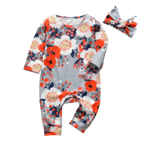 Baby Girls 2Pcs  Patterned Long Sleeve Onesie Romper Set Sky Blue Orange Floral freeshipping - Tots Little Closet