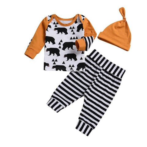 Bear Mustard & Stripe 3Pcs Outfit freeshipping - Tots Little Closet