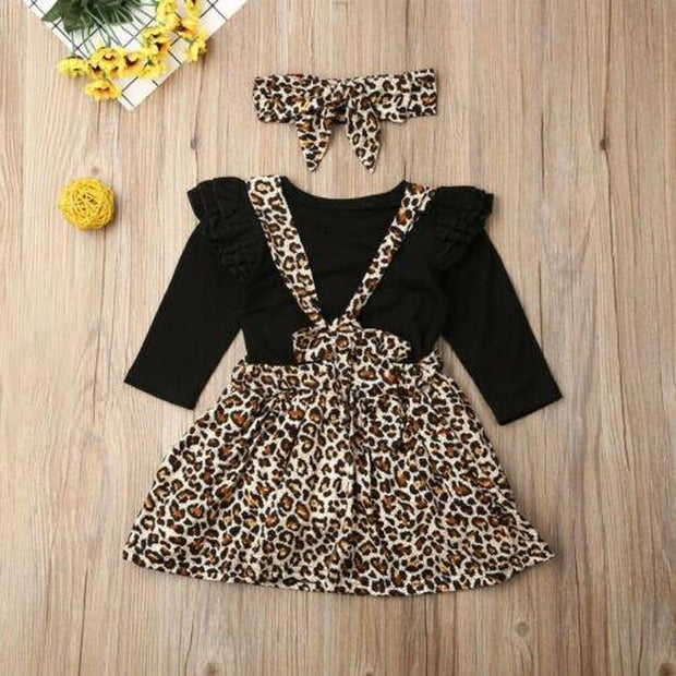 Leopard Print Skirt & Romper 3pcs Set