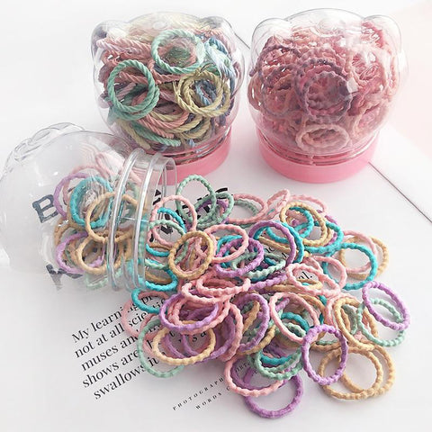 Girls Soft Elastic Hair Band Tubs. 100pcs - Tots Little Closet
