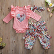 Watermelon Romper W Floral Print 3pcs Set