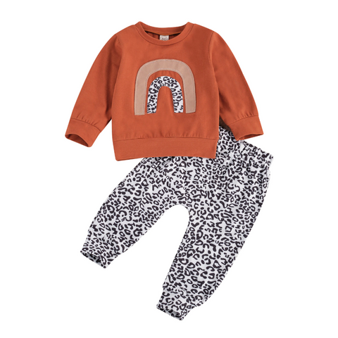 Rainbows & Leopards Pullover Tracksuit freeshipping - Tots Little Closet