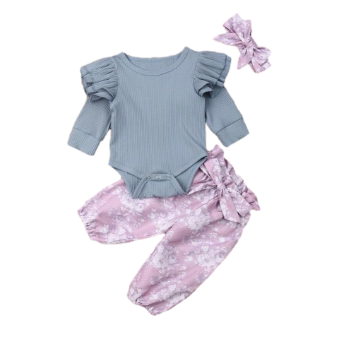 Flutter Hippie Clothing Set Purple Floral freeshipping - Tots Little Closet