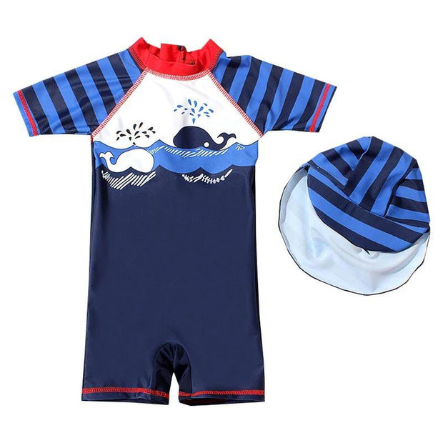 Whale Print Boys One Piece Swimsuit
