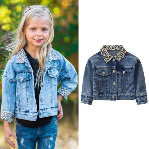 Leopard Denim Jacket freeshipping - Tots Little Closet