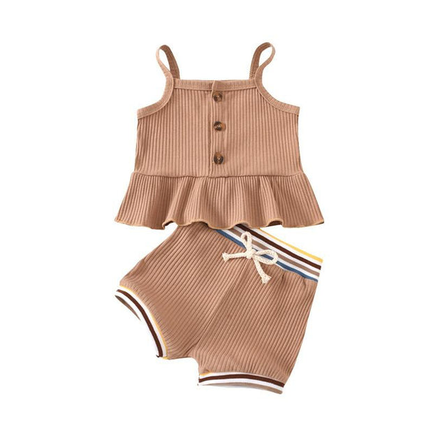 Ribbed Retro Ribbed Peplum Set Tan