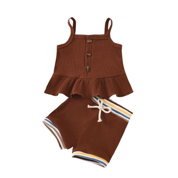 Ribbed Retro Ribbed Peplum Set Brown