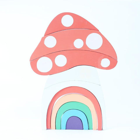 Rainbow Mushroom House Block Set freeshipping - Tots Little Closet