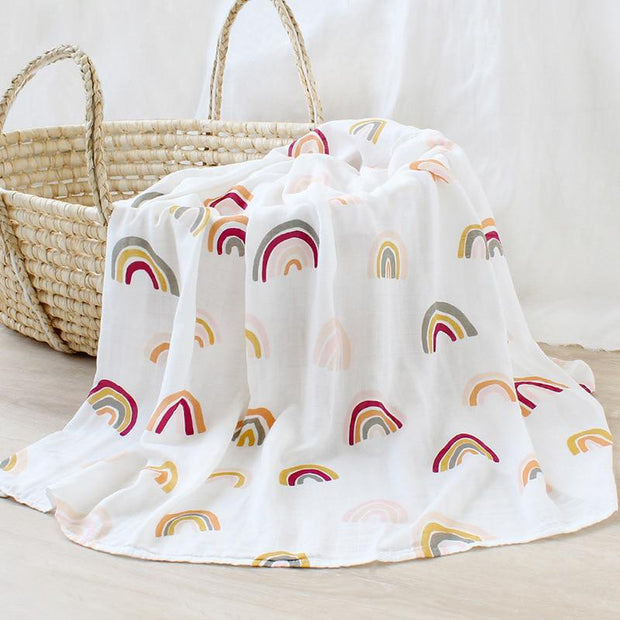 Rainbow Bamboo Cotton Soft Baby Swaddle Muslin Wrap - Tots Little Closet