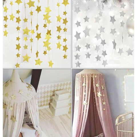 Star Garland Baby Bedroom Nursery Hanging Decor silver star freeshipping - Tots Little Closet