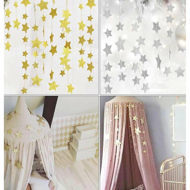 Star Garland Baby Bedroom Nursery Hanging Decor silver star