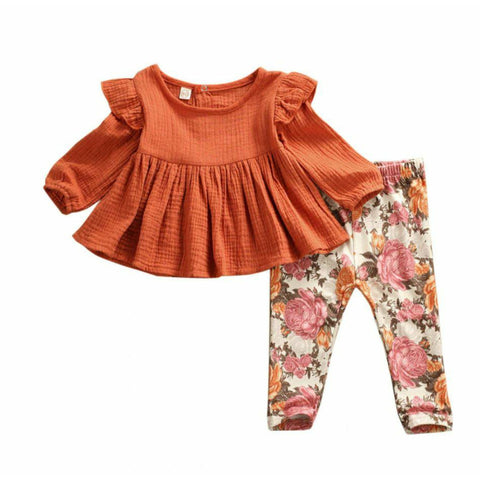 Autumn Long Sleeve Ruffle Top & Floral Pants Outfit freeshipping - Tots Little Closet