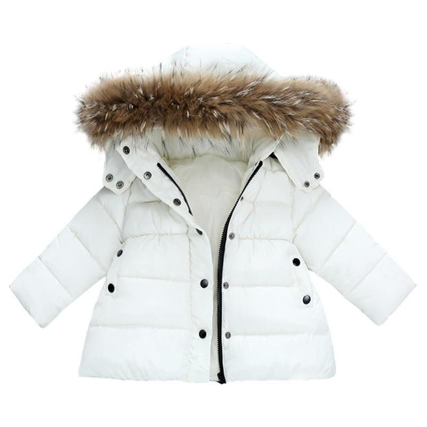 White With Fur Trim Puffer Parker Jacket