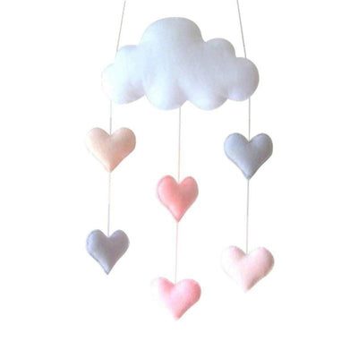 Felt Cloud Baby Mobile Nursery Hearts
