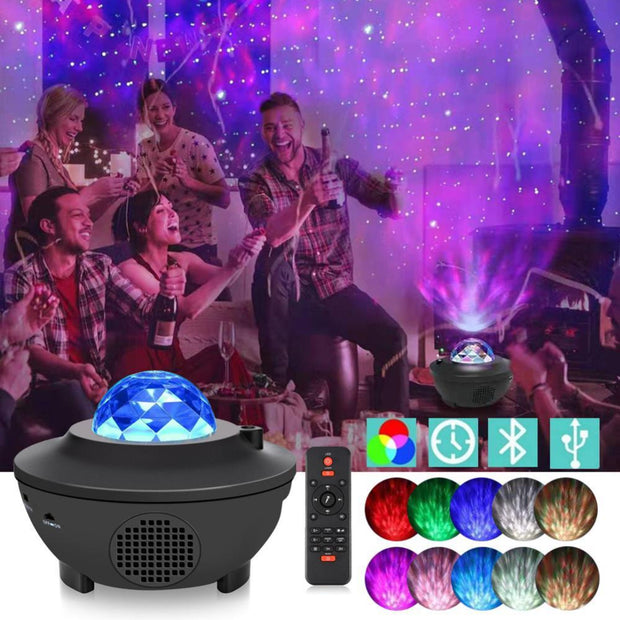LED Galaxy Starry Night Light Laser Projector Lamp Bluetooth Speaker Children Kids Baby Bedroom Nursery