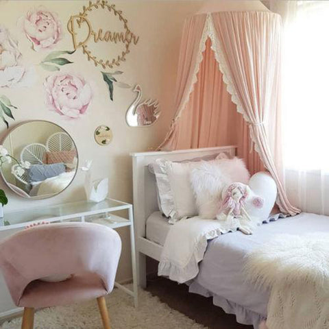 Round Dome Nursery Canopy Lined With Lace Apricot Pink - Tots Little Closet
