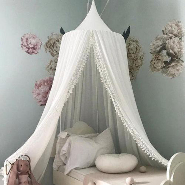 Round Dome Nursery Canopy Lined With Lace White
