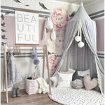 Round Dome Nursery Canopy Lined With Lace Gray - Tots Little Closet