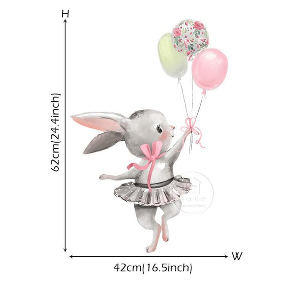 Bella Bunny Balloon Collections Removeable Wall Sticker bunny 02 - Tots Little Closet