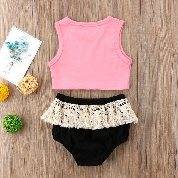 Beach Babe Pink & Black Crop & Bloomer Pants Set