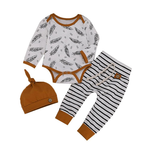 Feather & Tan 3 Pcs Set - Tots Little Closet