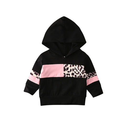 Black & Pink Leopard Print Girls Hoodie - Tots Little Closet