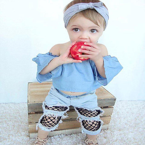 Denim Frill Top & Ripped Jean Outfit freeshipping - Tots Little Closet