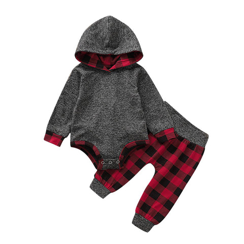 Grey Hoodie With Red & Black Tartan 2 PCS Outfit Set freeshipping - Tots Little Closet