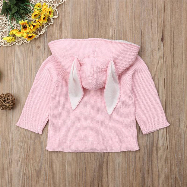 Baby Girl Knitted Hooded Sweater Bunny Ears - Tots Little Closet