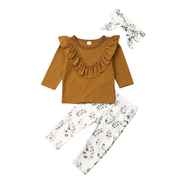 TAN RUFFLE LONGSLEEVE TOP WITH LEAF PATTERNED PANTS 3Pcs Outfits - Tots Little Closet