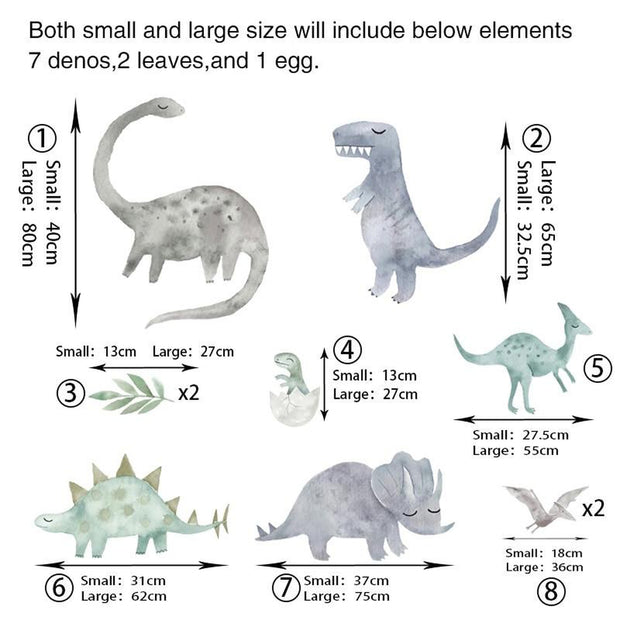 Dinosaurs Cartoon Wall Art Sticker Animals Mural DIY PVC Vinyl Wall Decals for Children Kids Boys Bedroom Home Decoration - Tots Little Closet