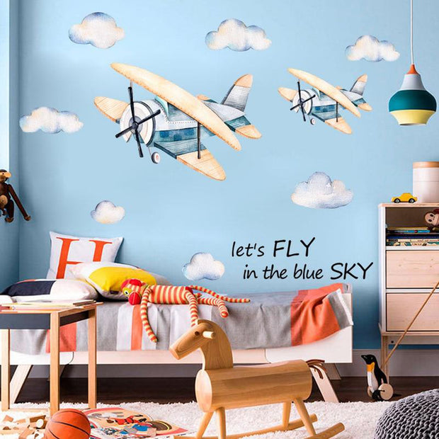 Baby Children Nursery Wall Sticker Watercolour Aeroplane & Clouds