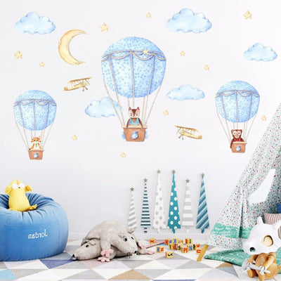 Baby Children Nursery Wall Watercolour Blue Hot Air Balloon