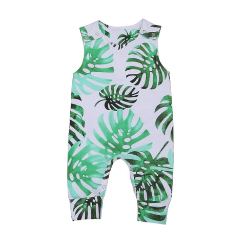 Boys Tropical Leaf Sleeveless Romper Jumpsuit freeshipping - Tots Little Closet