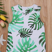 Boys Tropical Leaf Sleeveless Romper Jumpsuit