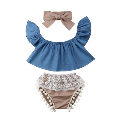 Denim Frill Top & Beige Lace Shorts 3Pcs Outfit