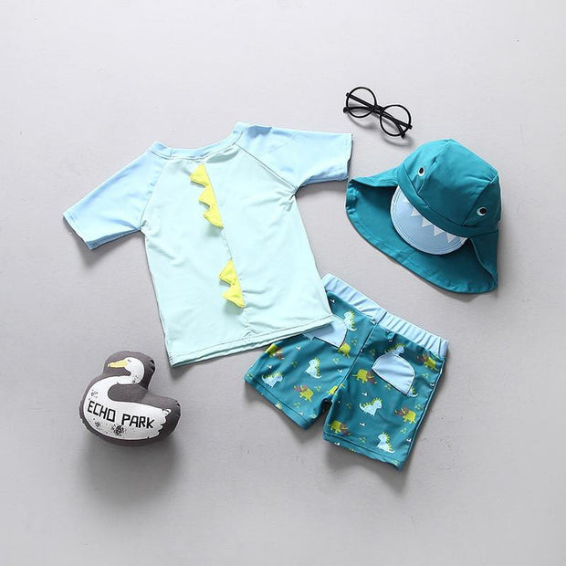 Boys Dinosaur Rashy & Boardshort Set 3pcs With 3d Spikes