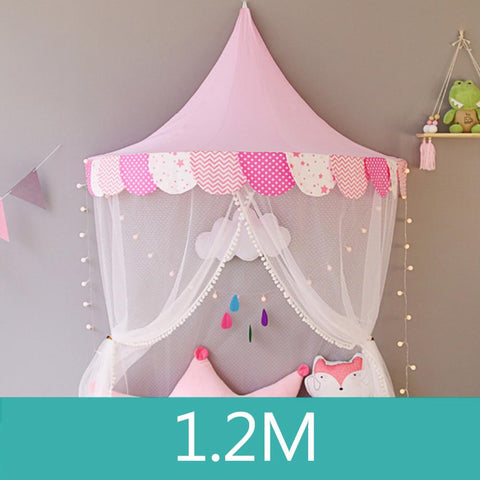 Castle Canopy Kids Play Tent  Pink & White - Tots Little Closet