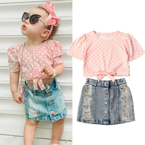 Pink Polka Dot Knot Top & Denim Ripped Skirt freeshipping - Tots Little Closet