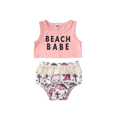Beach Babe Dinosaur Crop & Bloomer Pants Set