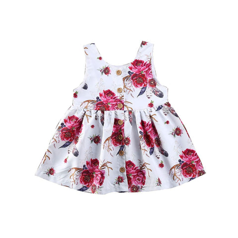 Boho Floral Button Up Summer Dress freeshipping - Tots Little Closet