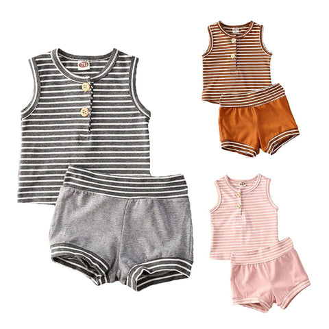 Huxley Striped 2pcs Top & Short Set - Tots Little Closet