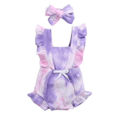 Purple Tie-Dye Flutter Romper 2Pcs - Tots Little Closet