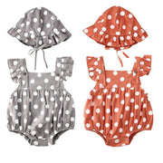 Polka Dot Romper Sunsuit & Hat Set
