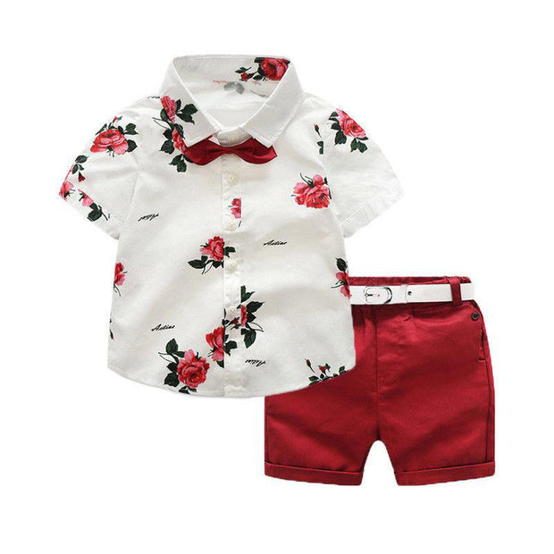 Red Floral Button Up T-shirt & Red Shorts Set