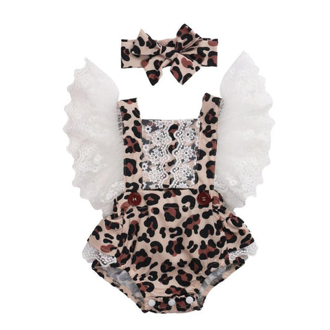 Leopard Jumpsuit Summer Baby Clothing + Hairband Outfits freeshipping - Tots Little Closet