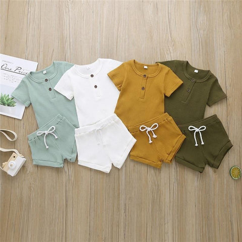 Boys Basic Solid Color Ribbed T Shirt Shorts Set freeshipping - Tots Little Closet